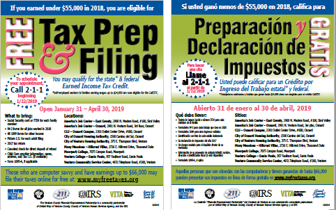 link to flyers for free VITA tax preparation in ventura county flyers
